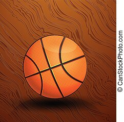 Basketball on a hardwood court floor vector icon background...
