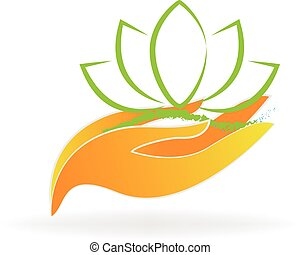 Hands care lotus logo