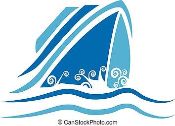 Cruise Ship logo - Cruise Ship vintage logo