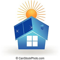 House solar panels on roof logo - House with solar panels on...
