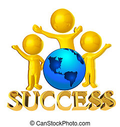 Success happy business people 3D and globe world America map...