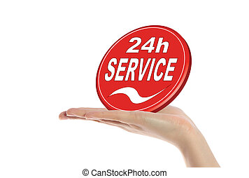 24 hour service - A neat human hand holding a stylized sign...