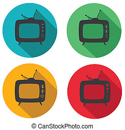 tv retro - set of retro tv flat icons