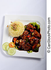 Nasi lemak, Asian traditional rice meal on white table