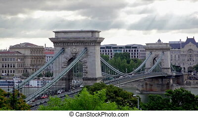 Budapest centre with Szechenyi Chain Bridge - Close view at...