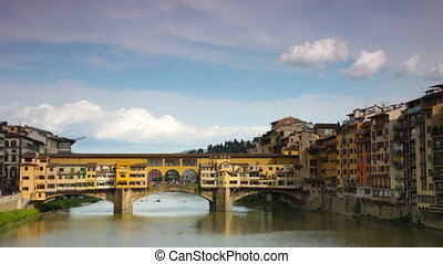 Golden Bridge across Arno river, Florence - Panoramic view...