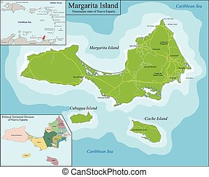 Map of Margarita Island - Margarita Island is the largest...