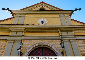 closeup Nesvizh Castle, Belarus - The palace and park...