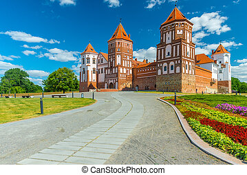 the road leading to the Castle of Mir in Belarus - Mir...