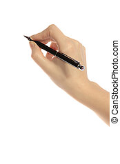 Writing person - A human hand holding a pencil. All isolated...