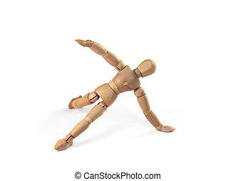 Wooden man man exercising workout