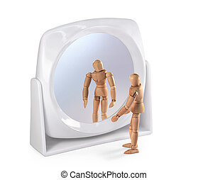 Wooden man looking in a mirror
