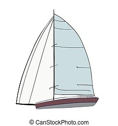 Boat with sails  - Sail Boat with black outline.