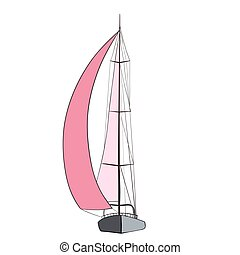 Boat with sails  - Sport yacht with red sails.