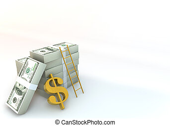 3d 100 dollar bill with success ladder White background - 3...
