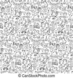 Seamless pattern with baby doodle elements