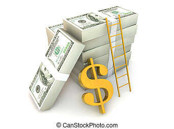 3d 100 dollar bill with success ladder - 3 Dimensional...