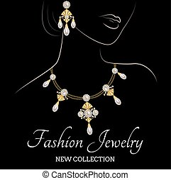 Woman with pearl necklace and earrings - Fashion...