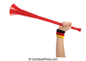 Vuvuzela - A human hand with a sweatband in german colors...