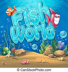 Underwater world with fish Vector illustration background