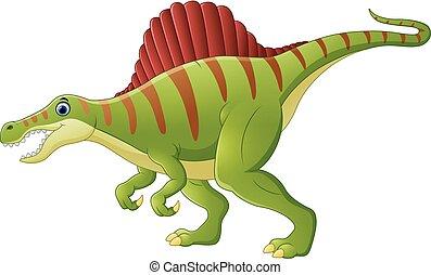 Dinosaurio, spinosaurus, caricatura,