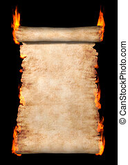 Burning Roll Of Parchment - Burning vintage roll of...