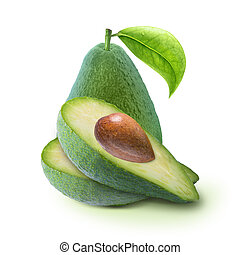 Cut avocado with leaf isolated on white