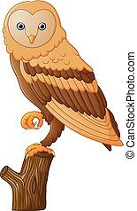 Cute owl cartoon - vector illustration of Cute owl cartoon