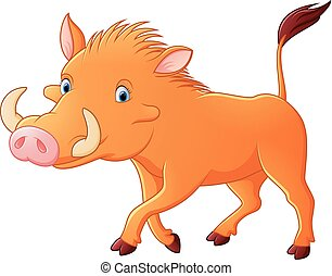 Cartoon warthog - vector illustration of Cartoon warthog