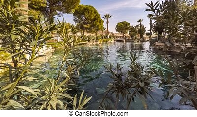 Cleopatra's Pool in antique Hierapolis, Pamukkale, Denizli,...