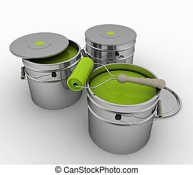 Bucket with green paint and roller - Buckets with green...