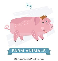 Pig isolated, vector.