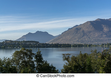 Lake wakatipu - lake wakatipu view with a small town across...