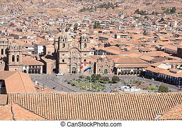 Panorama of Cusco city in Peru