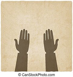 prayer hands symbol old background - prayer hands symbol old...
