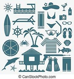 seaside holiday icons set