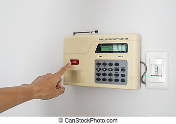 Home security system with hand push