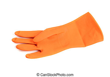 rubber glove - orange rubber glove isolated on white...