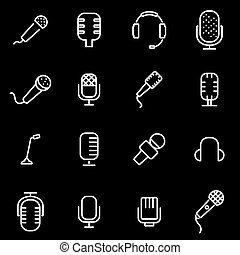 Vector line microphone icon set Microphone Icon Object,...