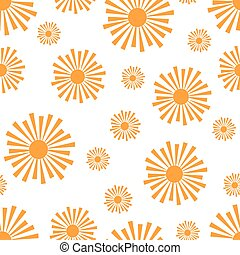 Stylized Orange Sun Rays Pattern - Seamless pattern of...