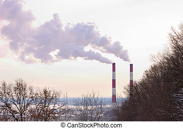 Chimney Stacks - Two chimney stacks polluting the air