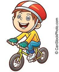 Boy - Cartoon boy on a bicycle