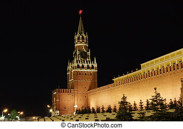 Kremlin on Red Square at night in Moscow