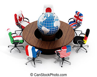 G7 country flags on office chairs around table wth globe...