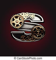 s vector letter with gears