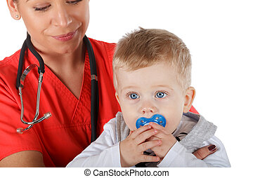 Pediatrician and child