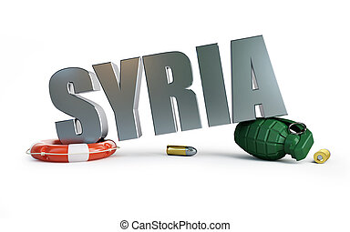 guerra, Síria, 3D, ilustrações, ligado, Um, branca, fundo,