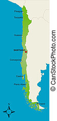 Map Chile - A stylized map of Chile showing different cities...