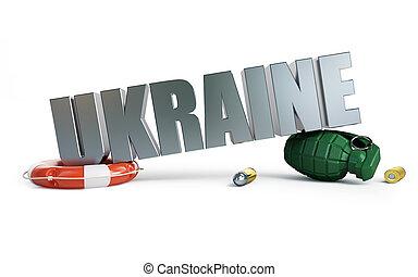 guerra, Ucrânia, 3D, ilustrações, ligado, Um, branca, fundo,...