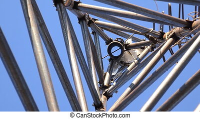 Zooming of Steel Triangle Tower for Wind Turbine Look from...